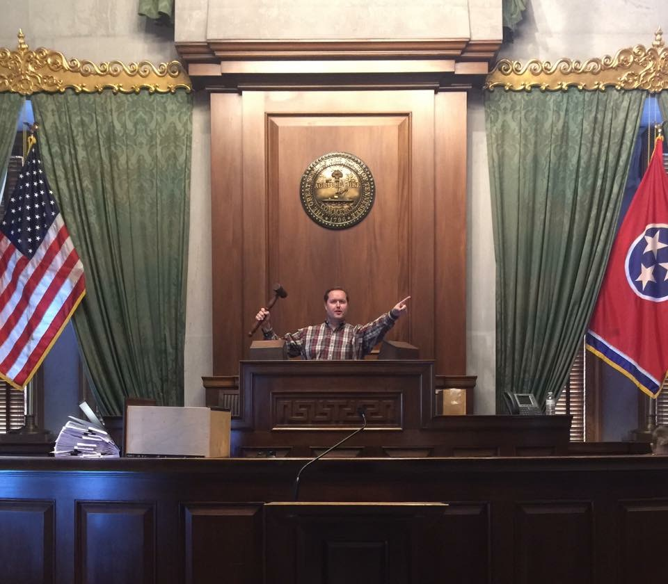 Addressing the Tennessee State Senate